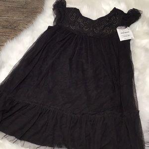 Zara girls dark grey tulle dress with embroidery.